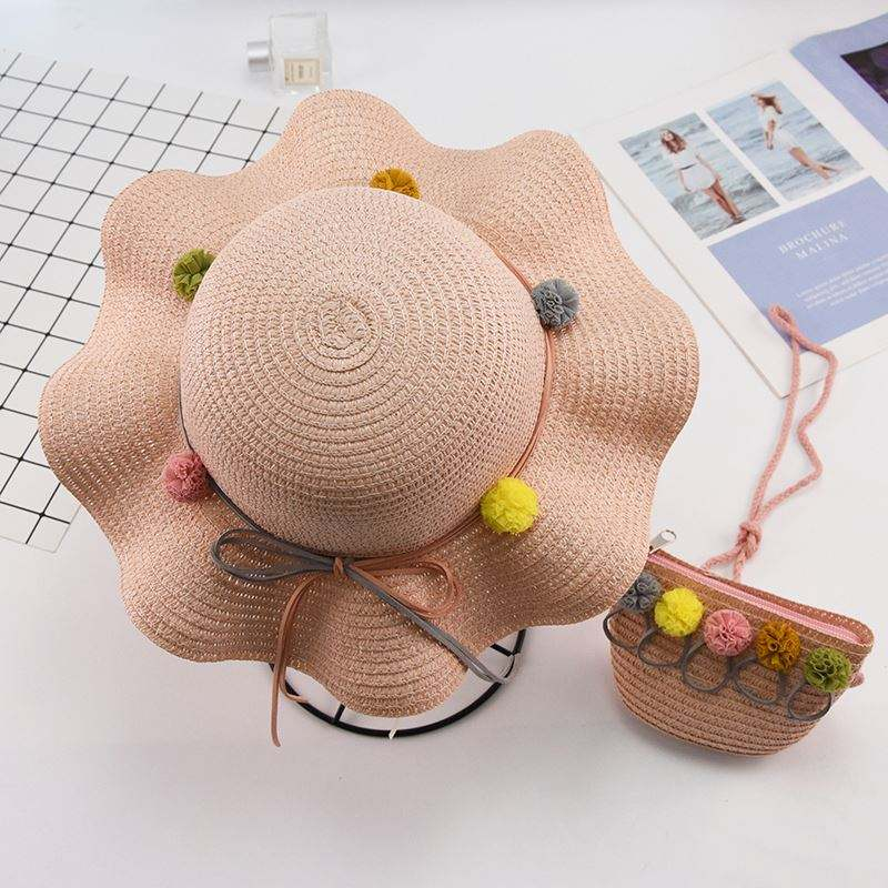 Fashion Eco Friendly Rainbow Flower Kids Straw Hat Messenger Bag Shoulder Handbag Children Baby Sunhats