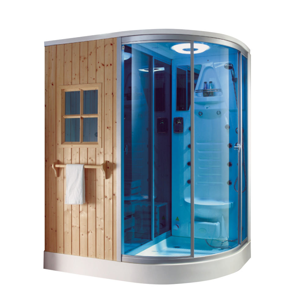 Indoor solid wood finlandais infrarouge sauna steamsteam shower 1 person