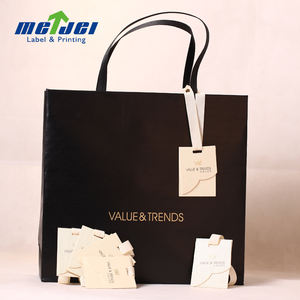 Luxury Recycled Black Paper Bag With Hot Stamping Gold logo For Shopping