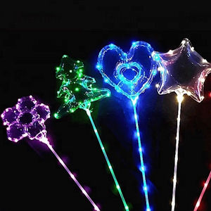 Funnny Unicorn FoilBalloonsGlow In The Dark 24 inch ClearLedBoboBalloonwith Stick