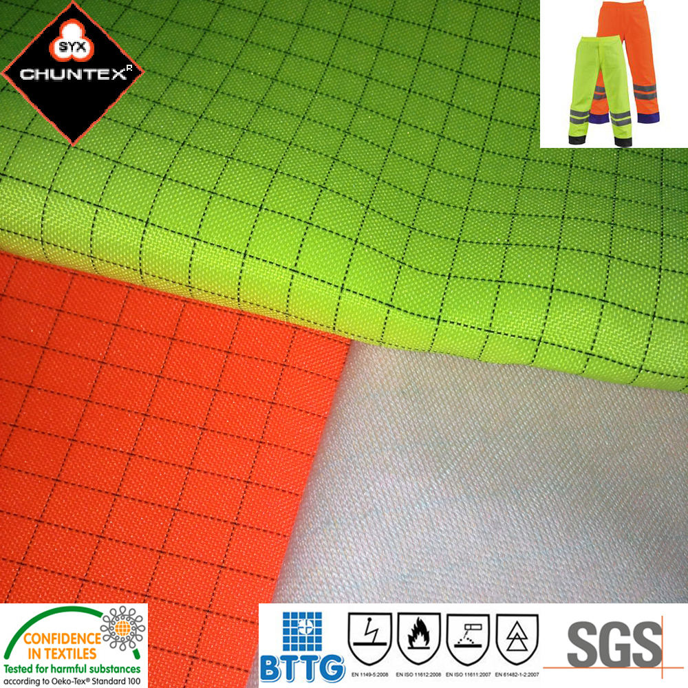 Shanghai 300D FR electrically conductive carbon fiber polyester oxford DTY Fabric material for safety jacket