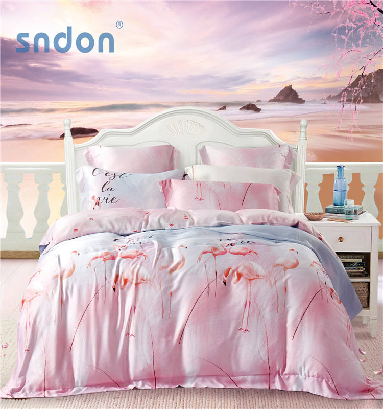 Cheap Price Tencel Single Bed Sheets Silk 3d Duvet Set Bedding Printed Comforter Set