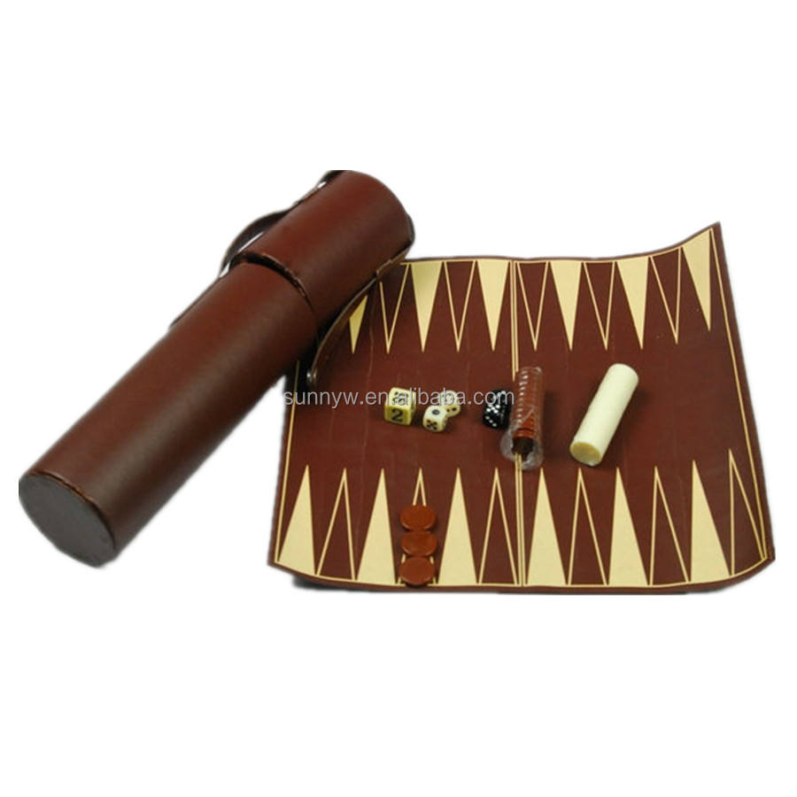 China fabrikant dual purpose leer oprollen <span class=keywords><strong>backgammon</strong></span> set