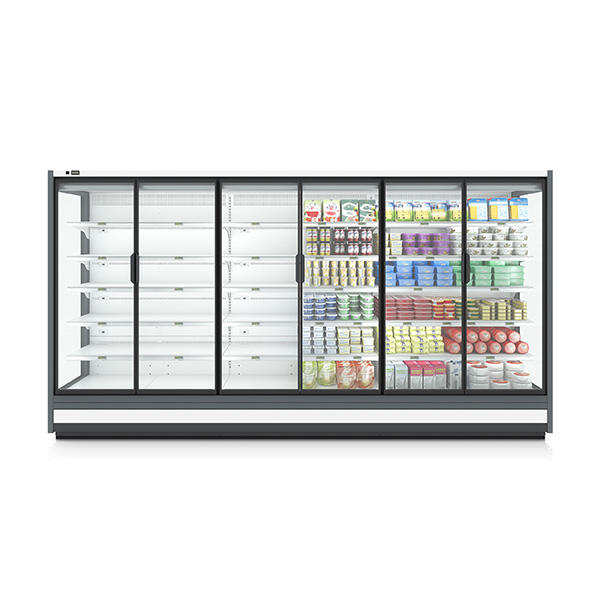 Supermarket vegetable cold storage fridge display glass door can customized