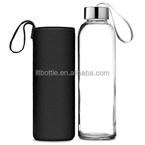 glass water bottles wholesale blue wide mouth with cup sleeve glass water bottle