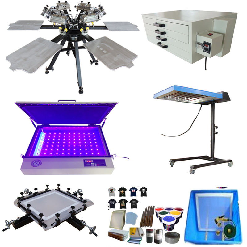 T-shirt Printing Machine with 6 color 6 station full set high quality carusel screen printing tshirt equipment