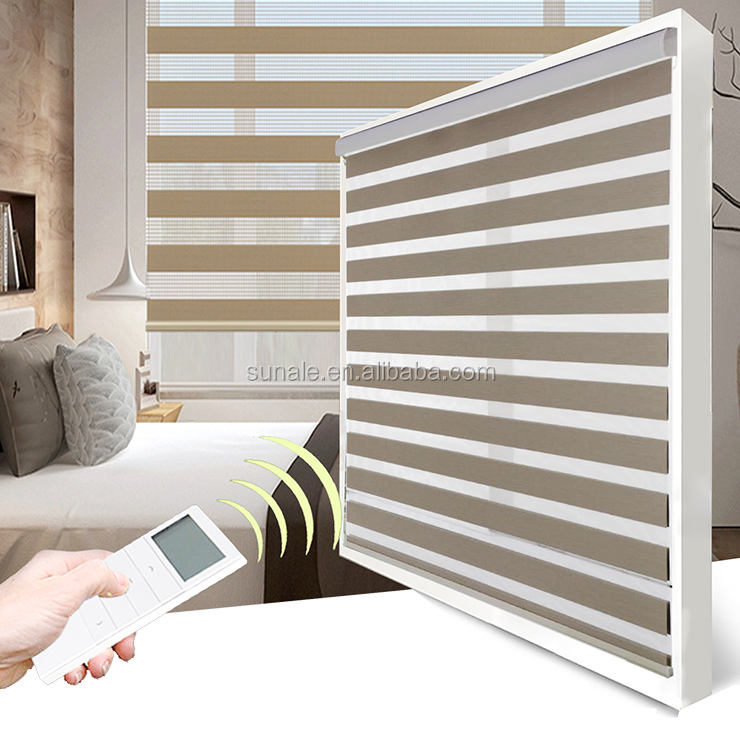 Sunscreen roller shades Double fabric layer motorized zebra blinds