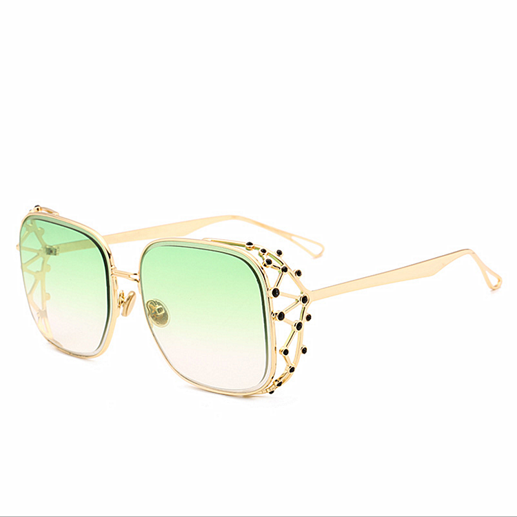 2019 Amazon fashion Hollow Diamond Crown sunglass outdoor anti-glare metal sun glasses anti-uv women sunglasses