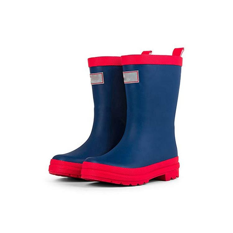 Custom desgin Rubber Kids Rain Boots waterproof walking soft riding gumboots anti slip safety wellington boots for students