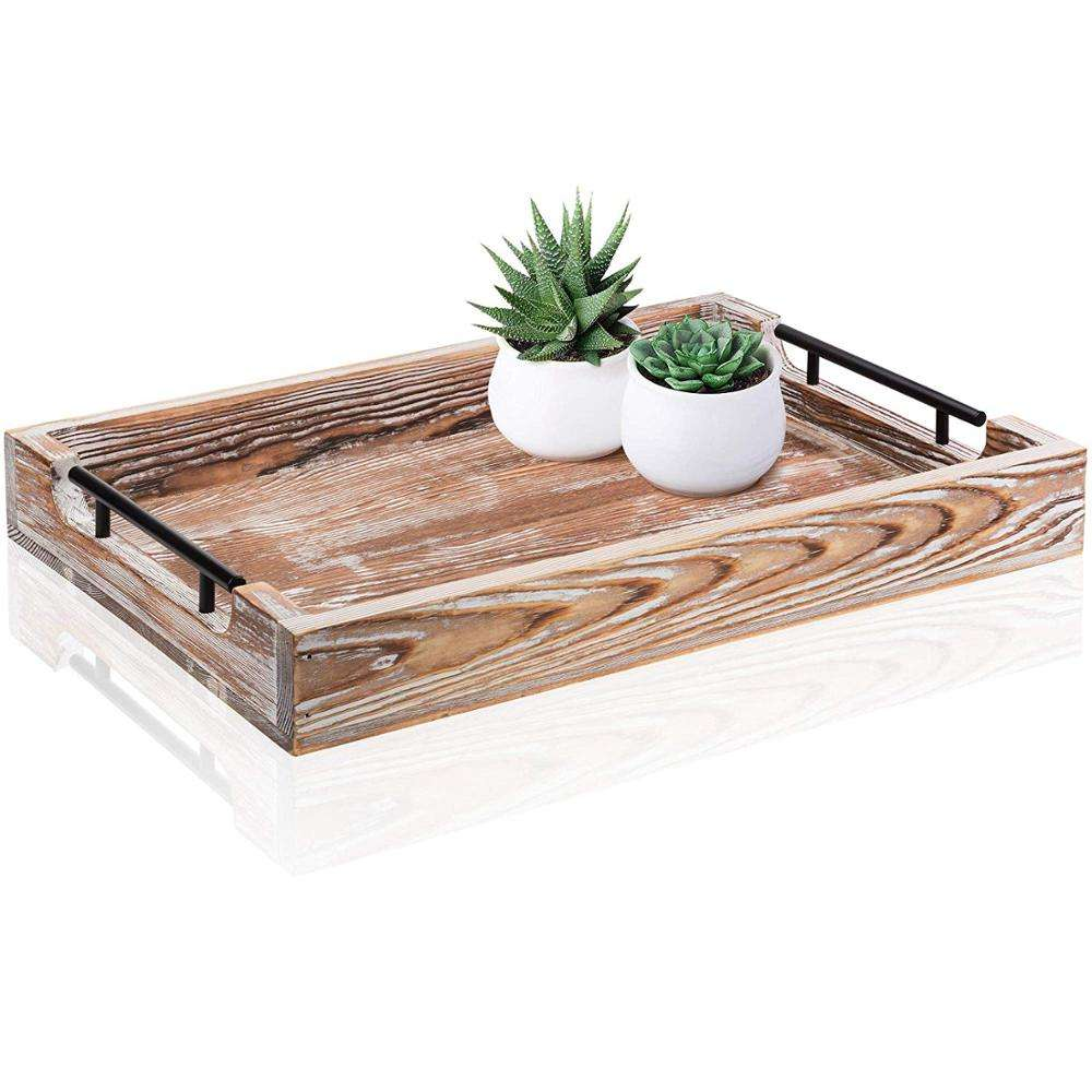 "Rustic Large Ottoman Tray with Handles 20""x14"" Coffee Table Trays for Coffee Table Wooden Serving Trays for Ottomans Home Decor"