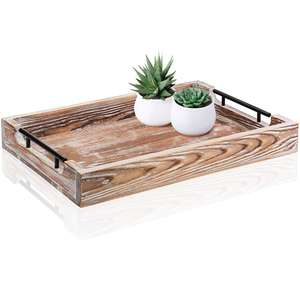 Rustic Large Ottoman Tray with Handles 20