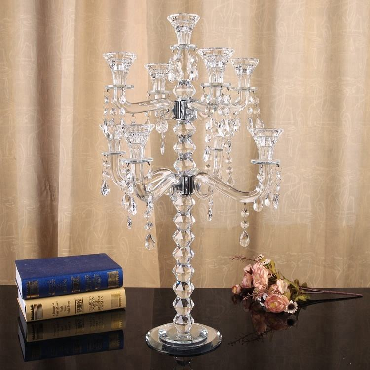 Small Cheap 9 Arms Wholesale Crystal Candelabras On Sale Wedding Table Centerpiece Decor