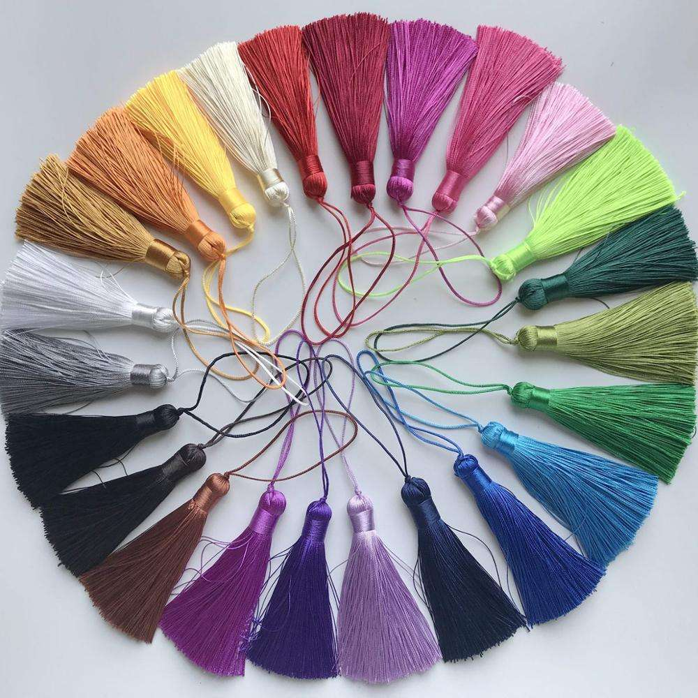 8cm Colorful High Quality Mini Cotton Tassel With Loop