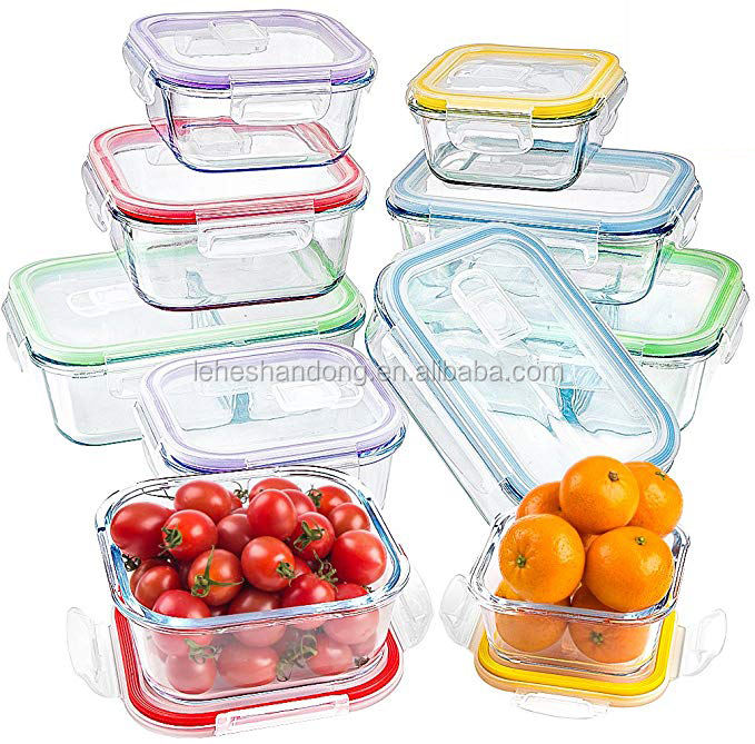 Multifunctional glass container set lunch bento food storage boxes
