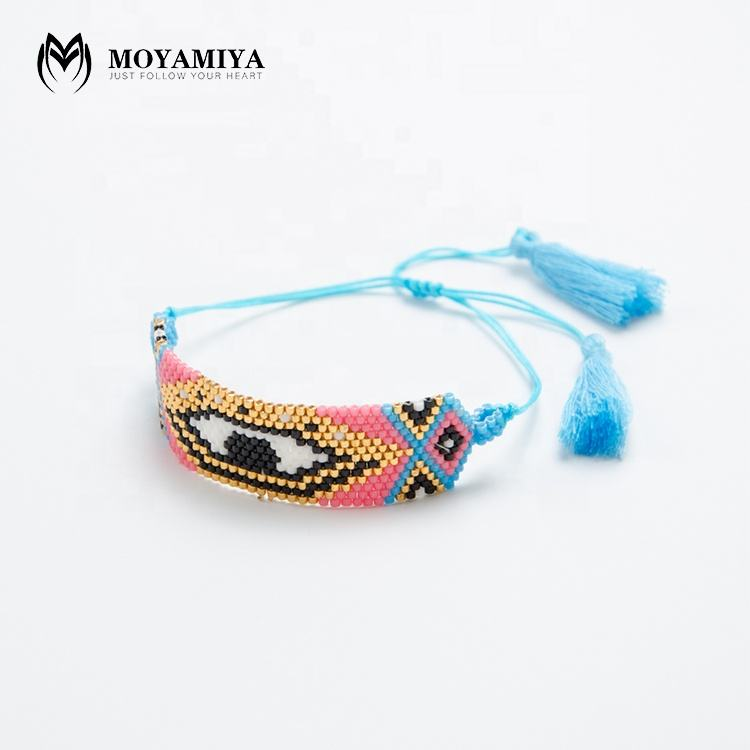MI-B180206 Moyamiya Hot Sale Boheme Chic Miyuki Black Evil Eye Glass Beads Wholesale Bangles Turkish Eye