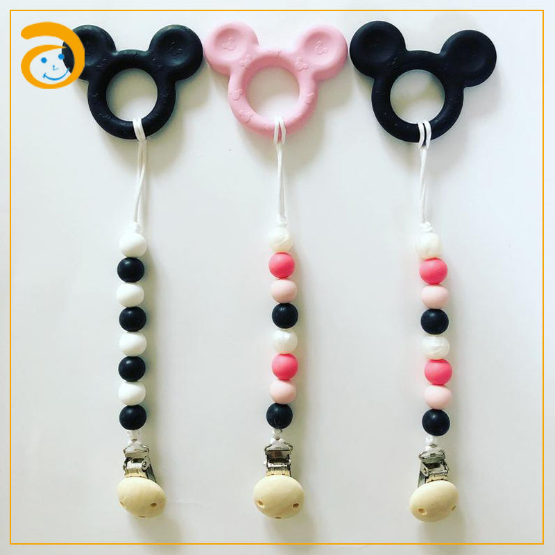Wooden pacifier clip silicone beads baby teething rings