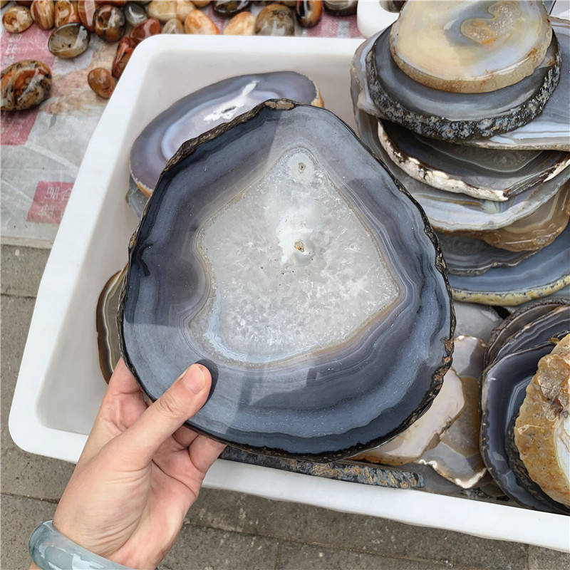 Polished natural agate slices large stone coaster wholesale