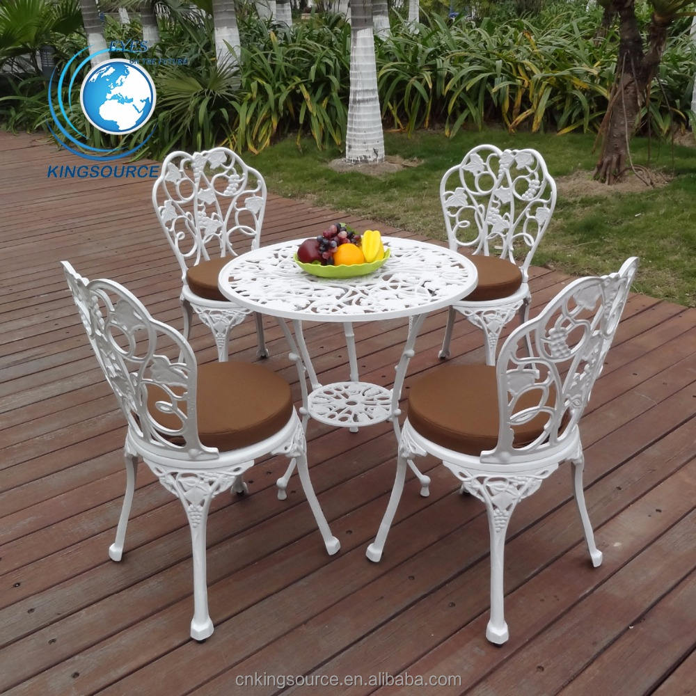 2018 mode Durable Outdoor Garten Weiß Terrasse Gusseisen Bistro Ess-Set
