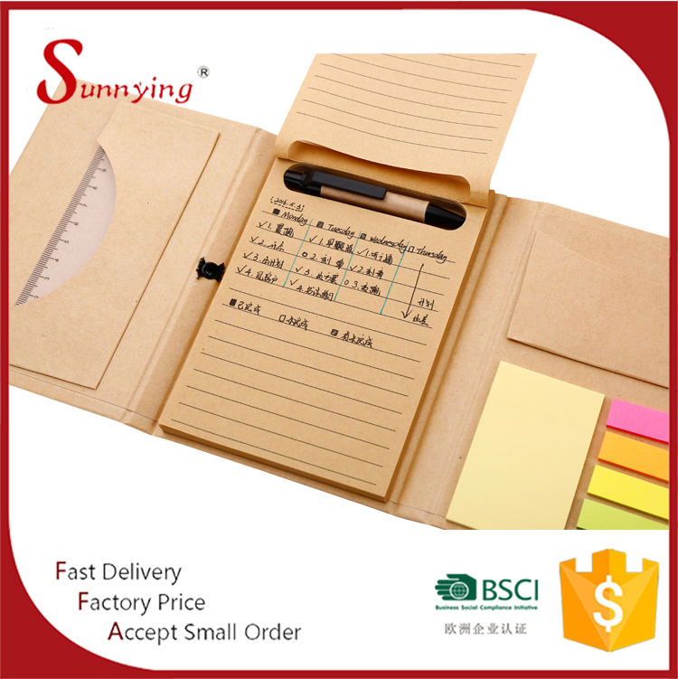 Eco friendly <span class=keywords><strong>A5</strong></span> papel Kraft Notebook sticky con notas adhesivas