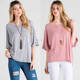 HIGH QUALITY LADIES TOPS IMAGES LATEST USA PLUS SIZE WOMAN DESIGN CASUAL ROLL UP WIDE HALF SLEEVES STRIPED KNIT LOOSE FIT SHIRT