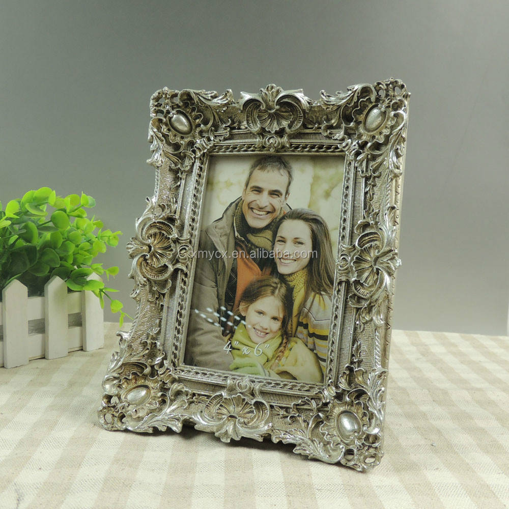 family photo frame antique silver resin material