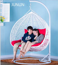outdoor rattan wicker double seat hanging egg swing chair with metal stand