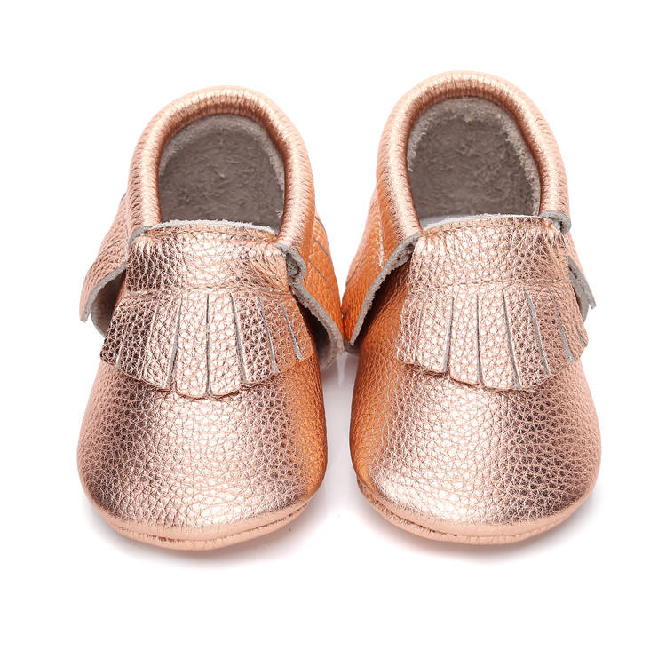 Newborn Genuine Leather Baby Shoes Shiny Leather Fringe Moccasins Shoes First Walking Shoes 0-24M