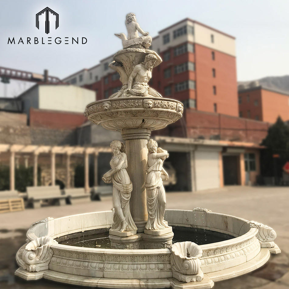 hot sale natural stone hand carved outdoor marble garden water fountain