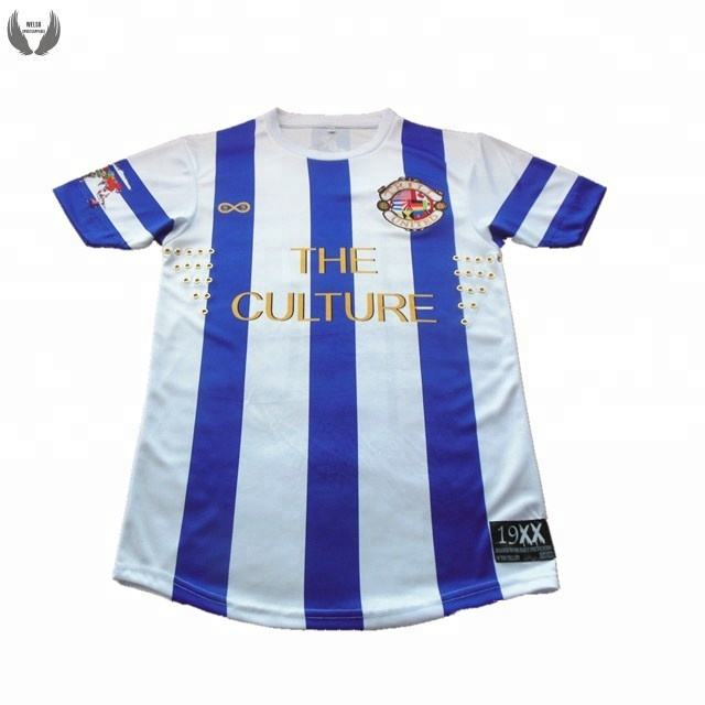 China football shirt maker custom polyester striped soccer jersey