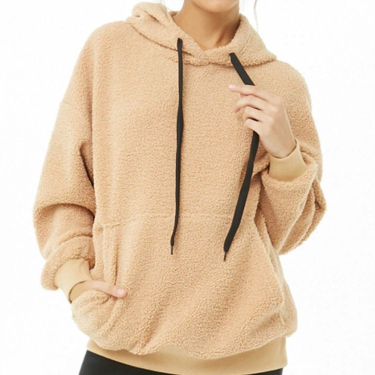 Ladies Wholesale Fashion Sweatshirts Custom Fleece Pullover Hoodie With Strappy