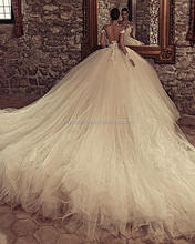 Marvelous Tulle & Satin Bateau Neckline Long Tail Ball Gown 2018 Sexy Long Sleeve Wedding Dresses With Beaded Lace Appliques