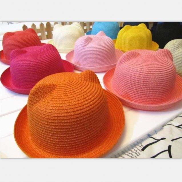 Wholesale Cheap Round Top bear style Paper Straw hat for child size, kid Bowler Hat with multicolor Cat ears sun hats
