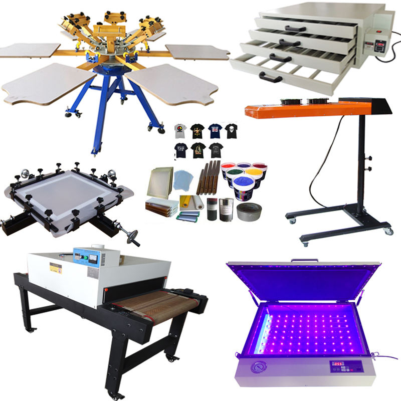 Multicolor rotary screen printer Semi Automatic/manual 6 color 6 stations Silk Screen Printing Machine for sale
