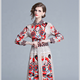 Europe and the United States fall 2019 new long-sleeve big swing waist show thin positioning versatile printed dress