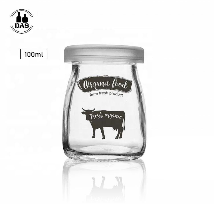 Transparent 100ml yogurt glass jam pudding jar for milkshake mousse cup