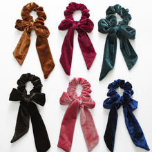 Hotsale Girls Velvet Bow Hair Scrunchies Knot Women Long Hair Tie Ponytail Holder