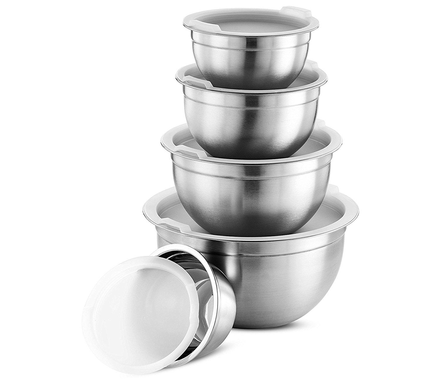 Hot sale matte finish kitchen accessories stainless steel serving bowl set with lid