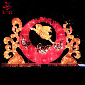 Electric chinese red silk lanterns spring festival traditional