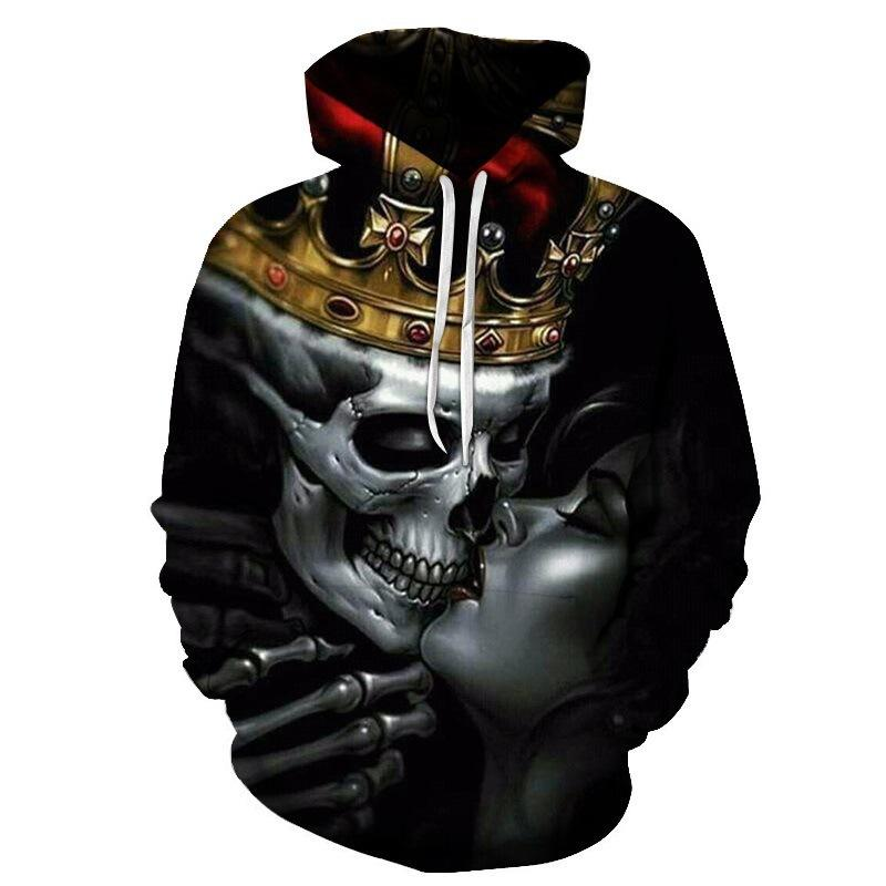 Manufacturers Bulk Top Quality Black Skull Printed Sublimation Hoodies Men