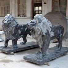 Natual stone of black marble lion statue animal sculpture for sale