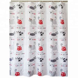 Polyester environment cartoon printed shower curtain for kids