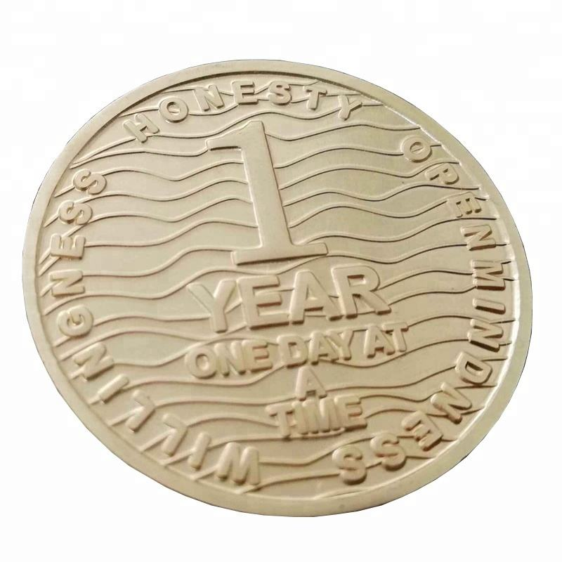 Recovery Chip 1 Year Aa Medallion Gold Plating Soft Enamel Engraved Challenge Coins For Gifts