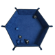 Wholesale custom pu leather foldable hexagon storage tray game dice tray