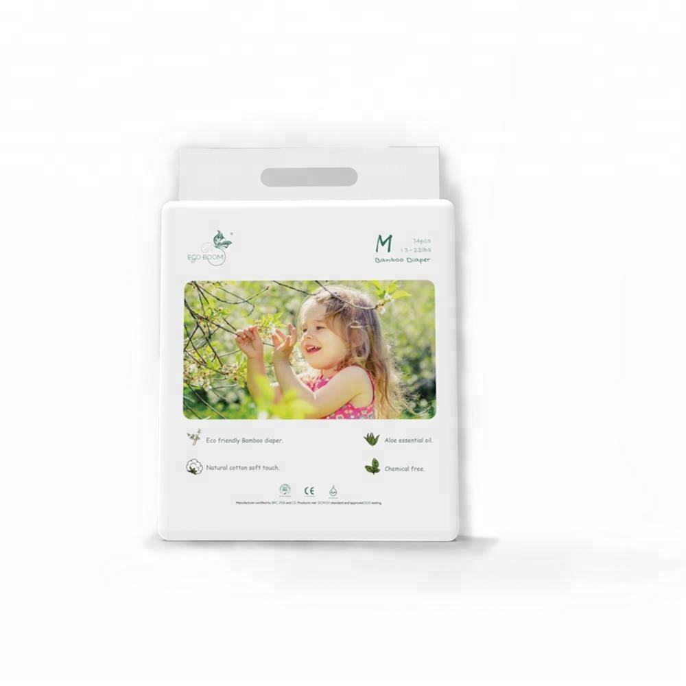 ECO BOOM 2020 new design Bamboo Natural Soft Ultra thin organic Disposable 74 Count Baby Diapers