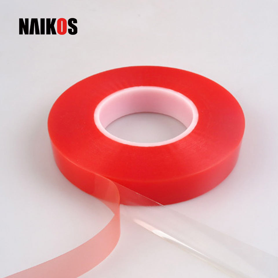 Tesa Equivalent Red Liner Clear Polyester Film Strong Acrylic Adhesive Double Sided PET Tape