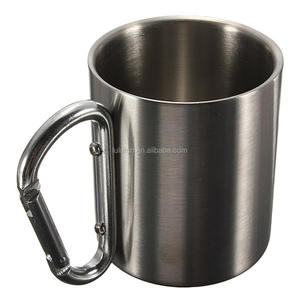 Stainless Steel Double Wall Camping Piala Carabiner Hook Baru 220 Ml Portable Stainless Steel Carabiner Mug