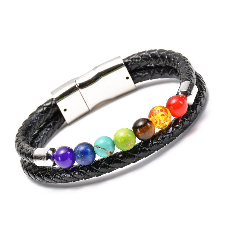 Amazon Hot Sale Energy Volcanic Lava Rock Natural White Turquoise Magnet Buckle Leather Bracelet
