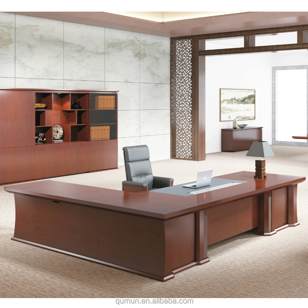 best selling China manufacturer modern teak solid wood executive desks with side cabinet
