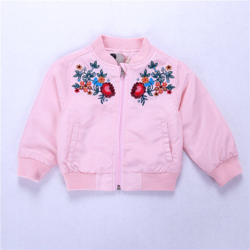 baby coat jacket for girls clothes pink embroidery flower kids outwear children's clothing wholesale 540