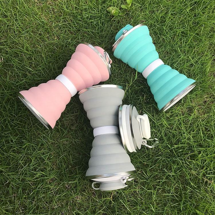 Gift craft Promotion Sport Recycle Drink Collapsible Foldable Silicone Water Bottle